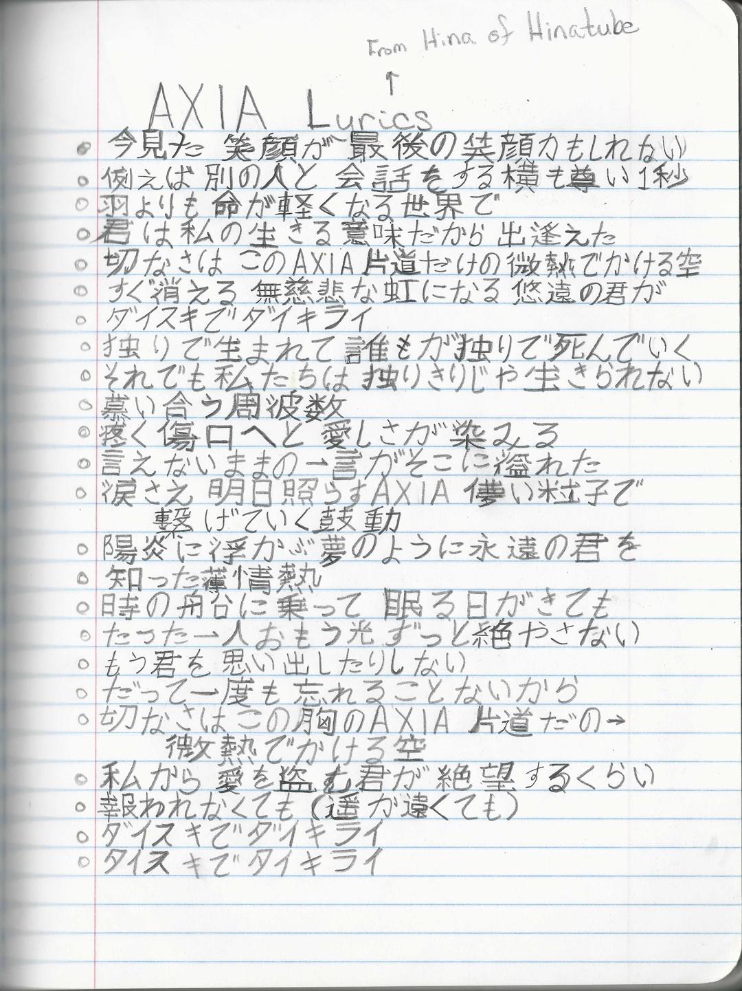 AXIA lyrics resize